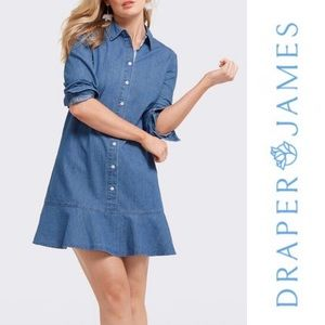Draper James Long Sleeved Chambray Shirt Dress, 6